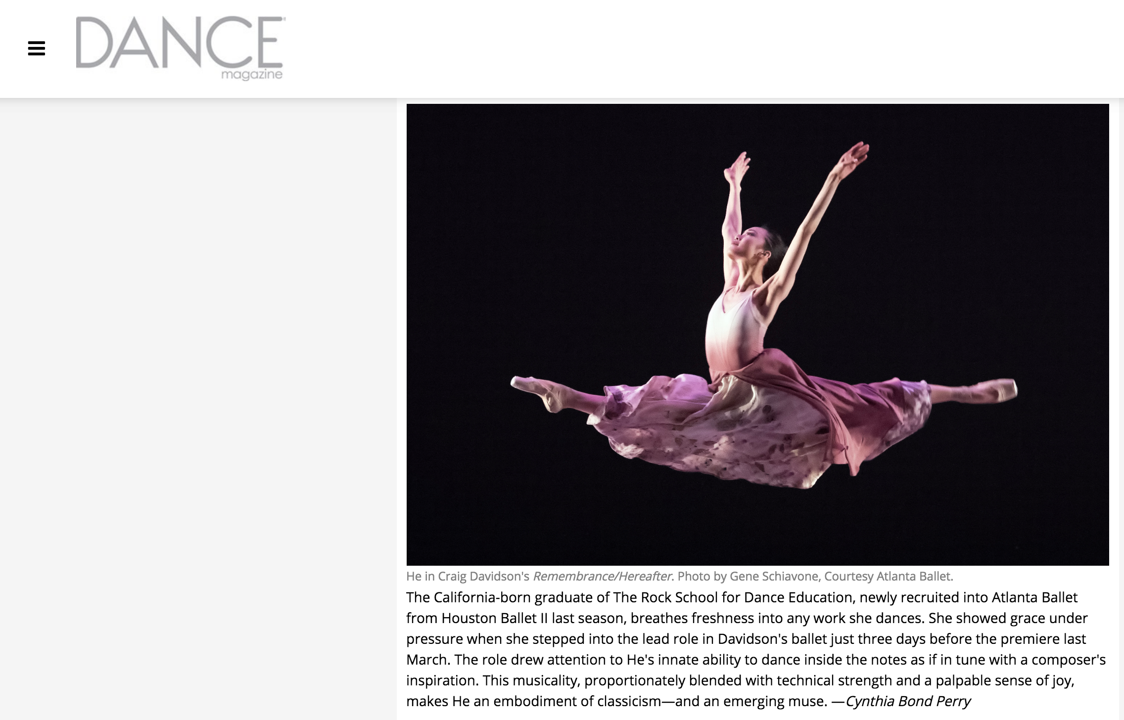 "Rock Alumna and Atlanta Ballet Company Dancer, Jessica He is Dance Magazine's ""25 to Watch"" for 2019."