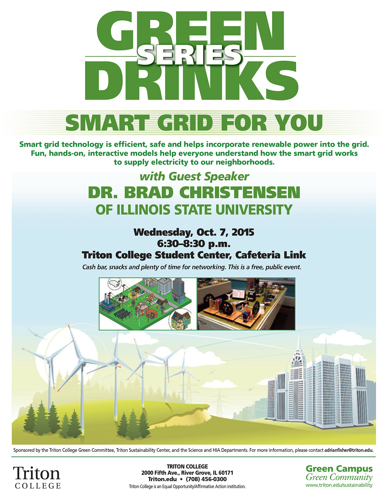 Poster about Green Drinks event at Triton.