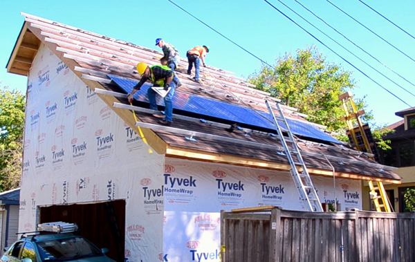The solar panels went up quickly, within two days. Photo by Cassandra West.
