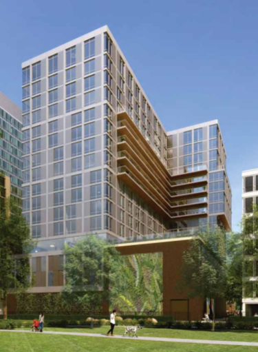 A rear view rendering of the proposed 1000 Lake Street building from the Albion Planned Development Application. The Austin Gardens Environmental Education Center is omitted.