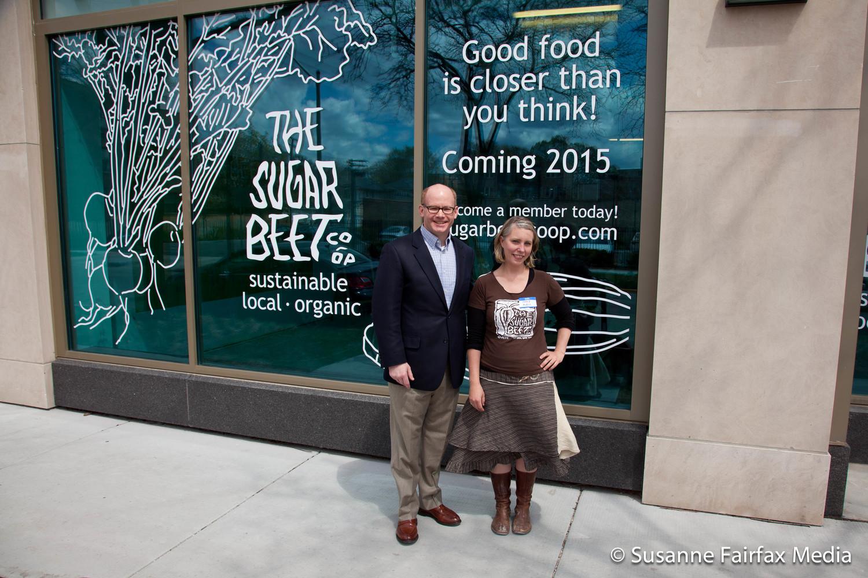 Senator Don Harmon and Sugar Beet Founder Cheryl Munoz at the Hard Hat Open House in May.