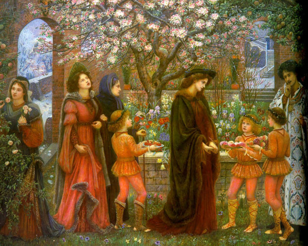 An Enchanted Garden of Messer Ansaldo by Marie Spartali Stillman.