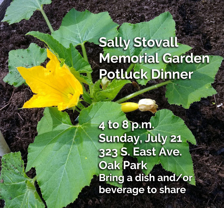 Ad for Sally Stovall Memorial Garden Potluck Dinner.