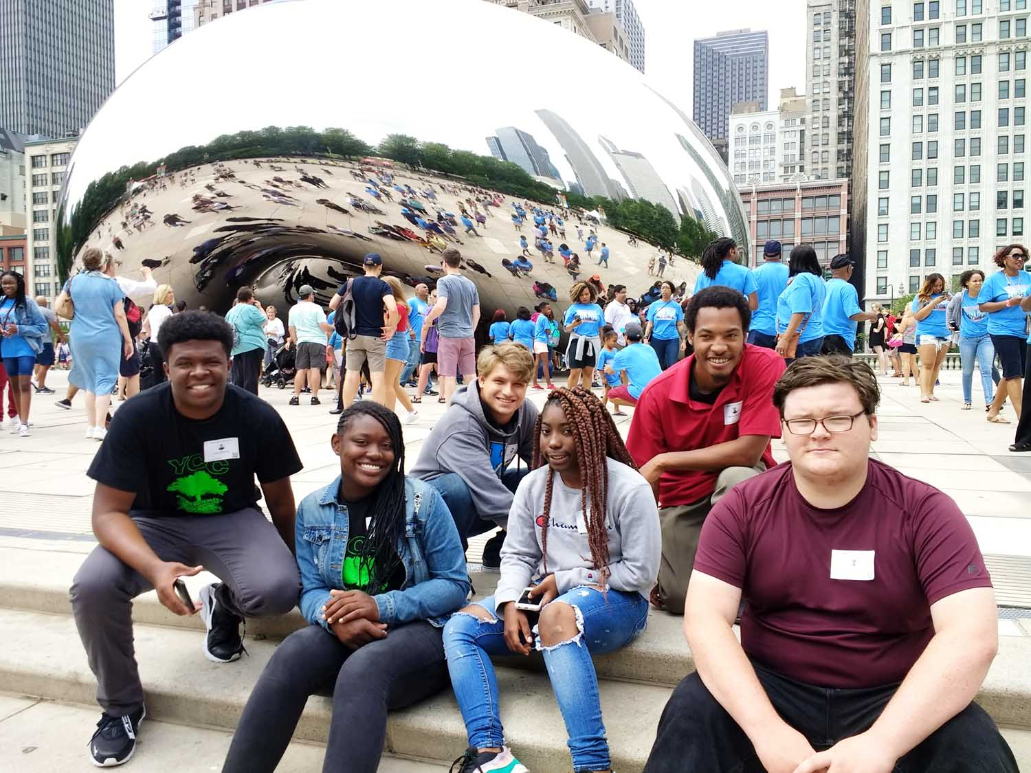 From left, Jalen Winston, Brianna Jackson, Erik Hertzberg, Samarria Fitch, Marius Anthony (Crew Leader) and Ralph Gonzalez visited Chicago for their final Young Filmmakers Workshop at GEMS World Academy, near Millennium Park.