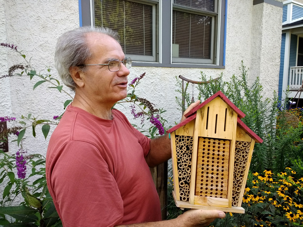 Pollinators instinctively know to hunker down in the bee and bughouse during the winter.