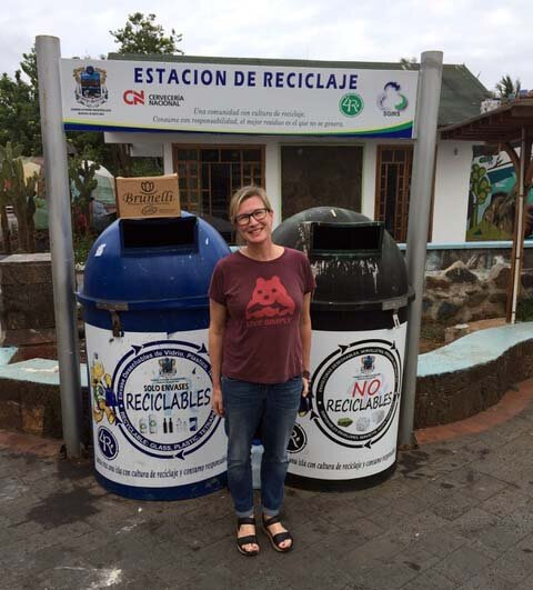 Julie Moller recycled during a trip to the Galapagos Islands.