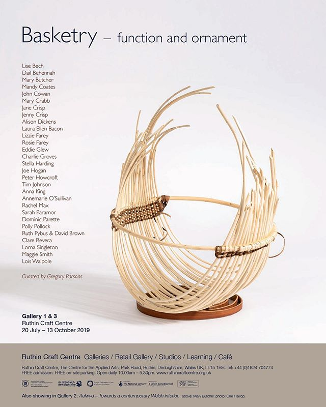 This is Basketry - Function & Ornament by @gregory2970 at #ruthincraftcentre 20th July- 14th October.  It is an honour to see my trugs alongside some of the most respected contemporary designer makers work. This is one of the most exciting and sculptural curations my trugs have been a part of. I have to see this show in the flesh, if you're into basketry you'll love this.
