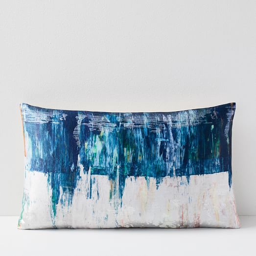 Abstract Water Garden Brocade Pillow Cover -
