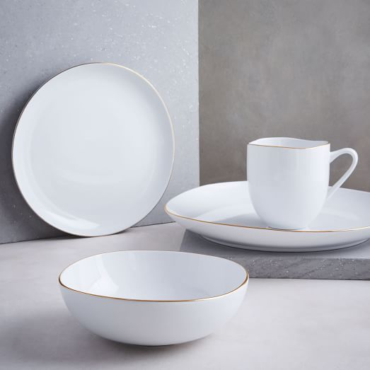 Organic Shaped Dinnerware Set - Metallic Rimmed -