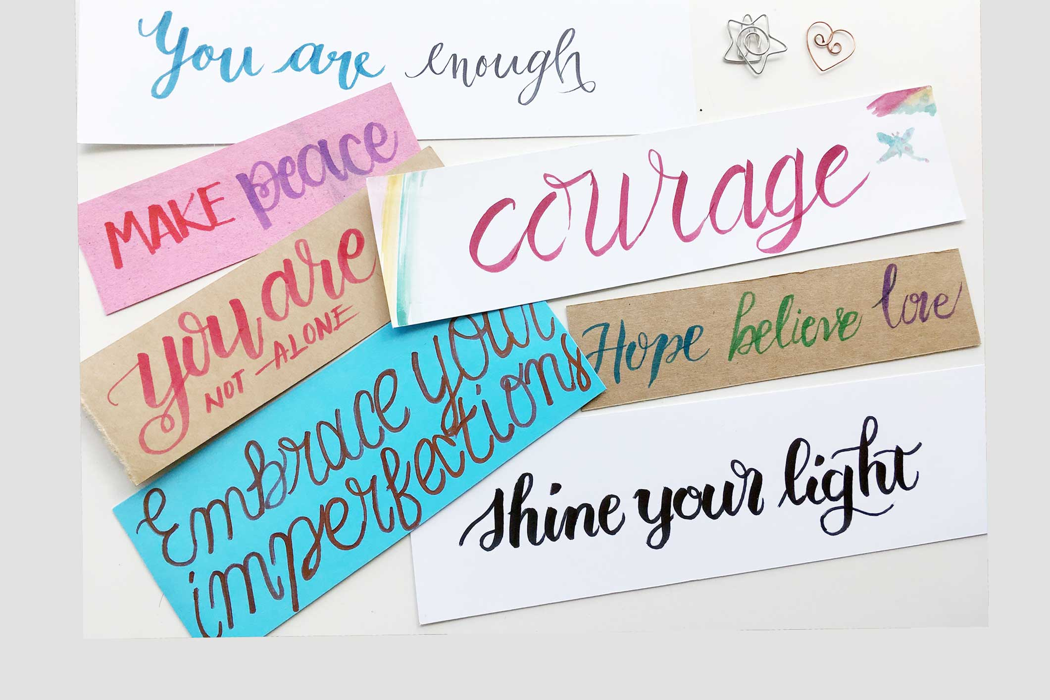 Notes of positivity - Notes of encouragement written in calligraphy donated to the marginalized clients you serve to increase connection and foster well being.