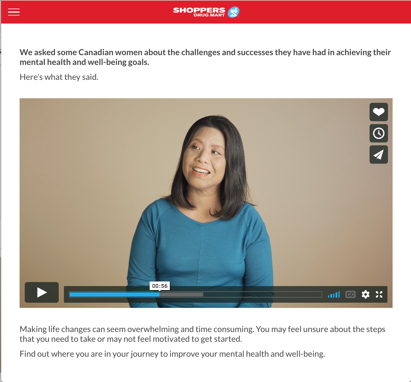 a short public service announcement with shoppers drug mart on what self care and mental health looks like for women.