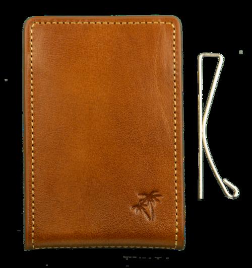 Palm WEST en Cuir Poche avant argent Clip portefeuille avec rfidblock Saddle Tan
