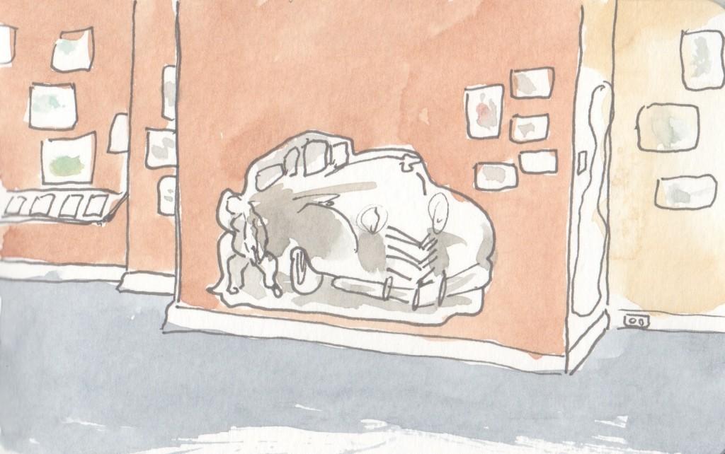 Campanario's car show sketches exhibit, MOHAI, Seattle