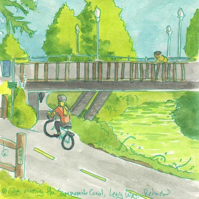 Ride and sketch: Leary Way bridge over the Sammamish River canal, Redmond