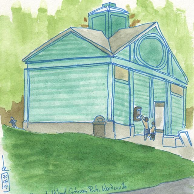 Ride and sketch: The toilets at Wilmot Gateway Park, Woodinville