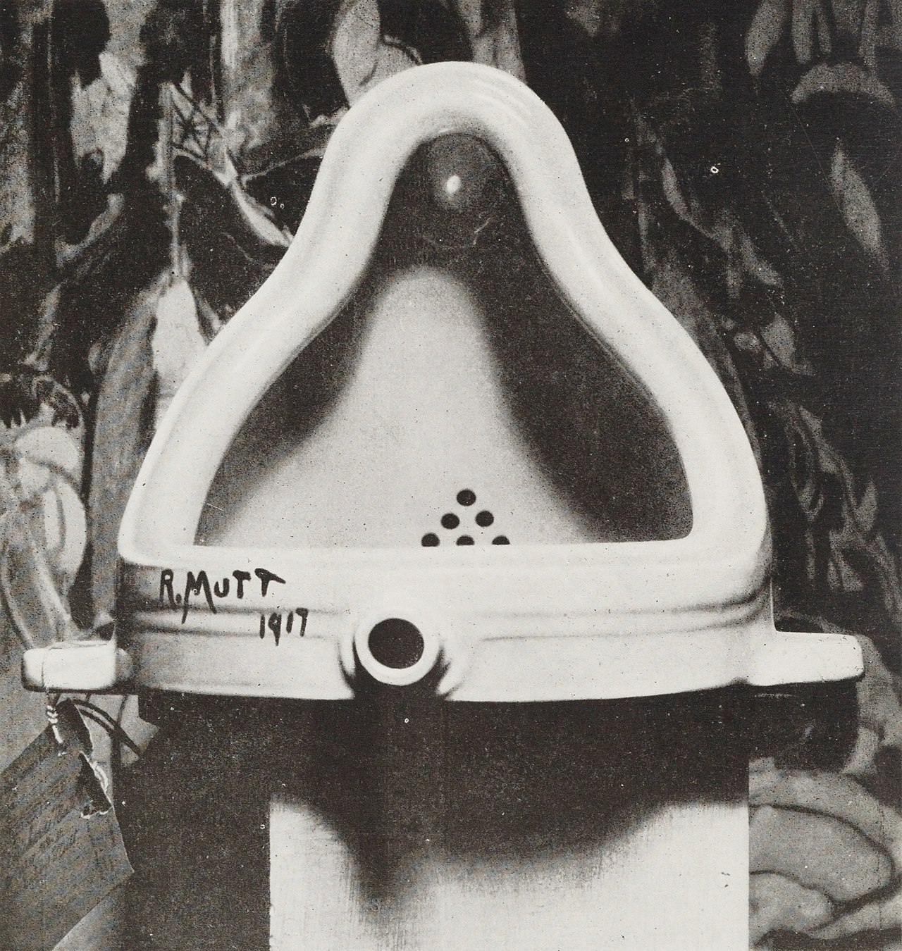 Marcel Duchamp 's  Fountain  1917. Photograph by Alfred Stieglitz. (Public Domain)