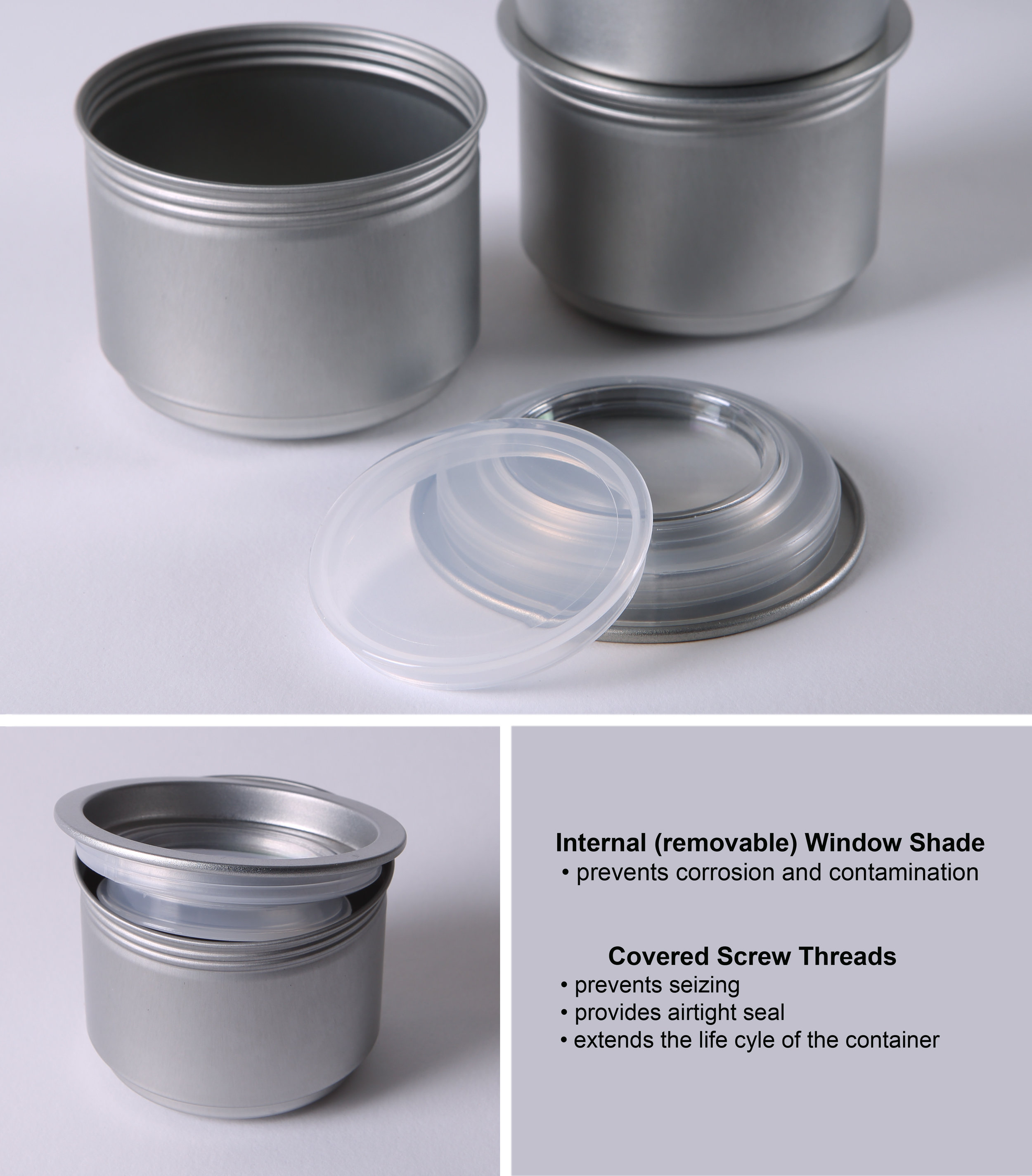 "Screw-top Lid - with a Twist—airtight spice tin with an inner ""shade"" to prevent window corrosion by certain ground spices"