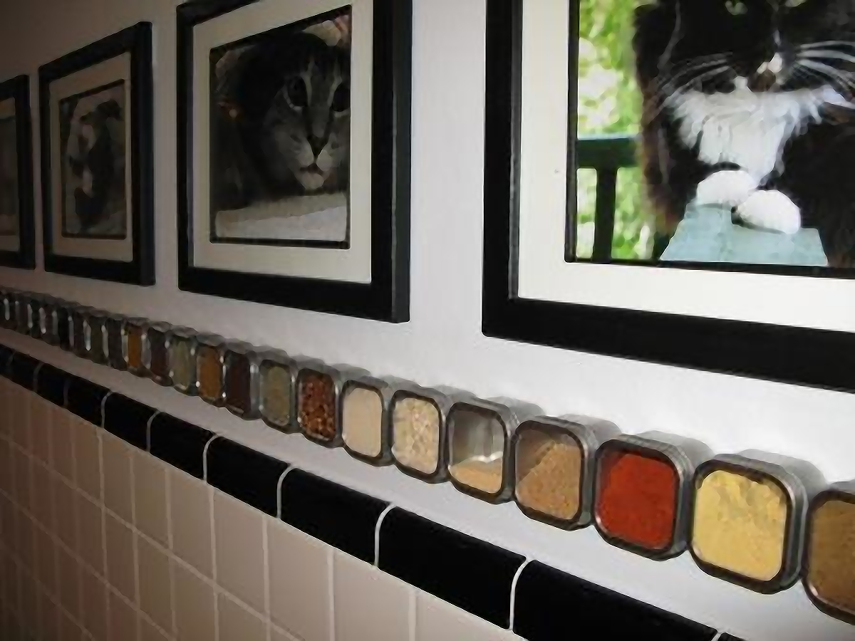 Magnetic Wall - Colorful foods and spices bringing color to the black and white kitchen in Michelle's 1920's bungalow (inspired by the black & white furry friends)
