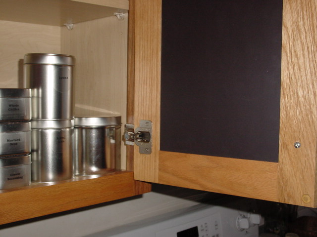 Install a Flexible Magnetic Sheet inside a kitchen cabinet.