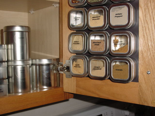 Organize your spices with non-magnetic spice tins.