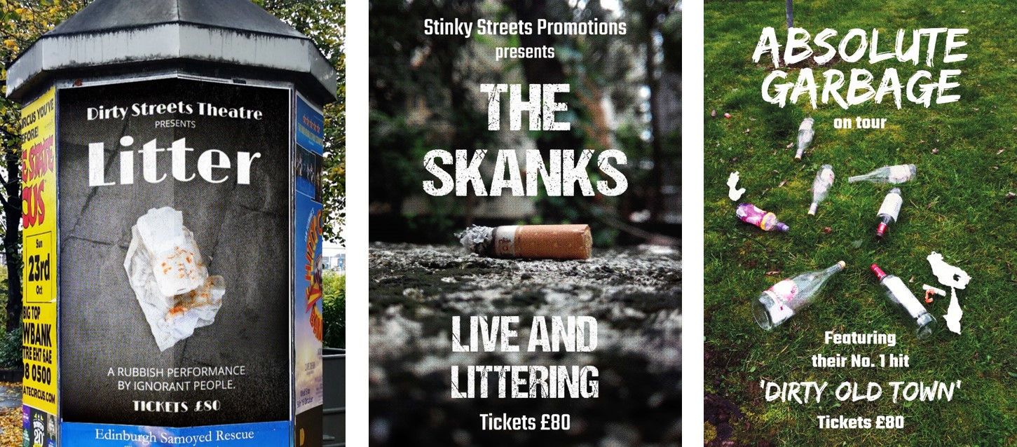 Anti-litter posters imitating gig posters
