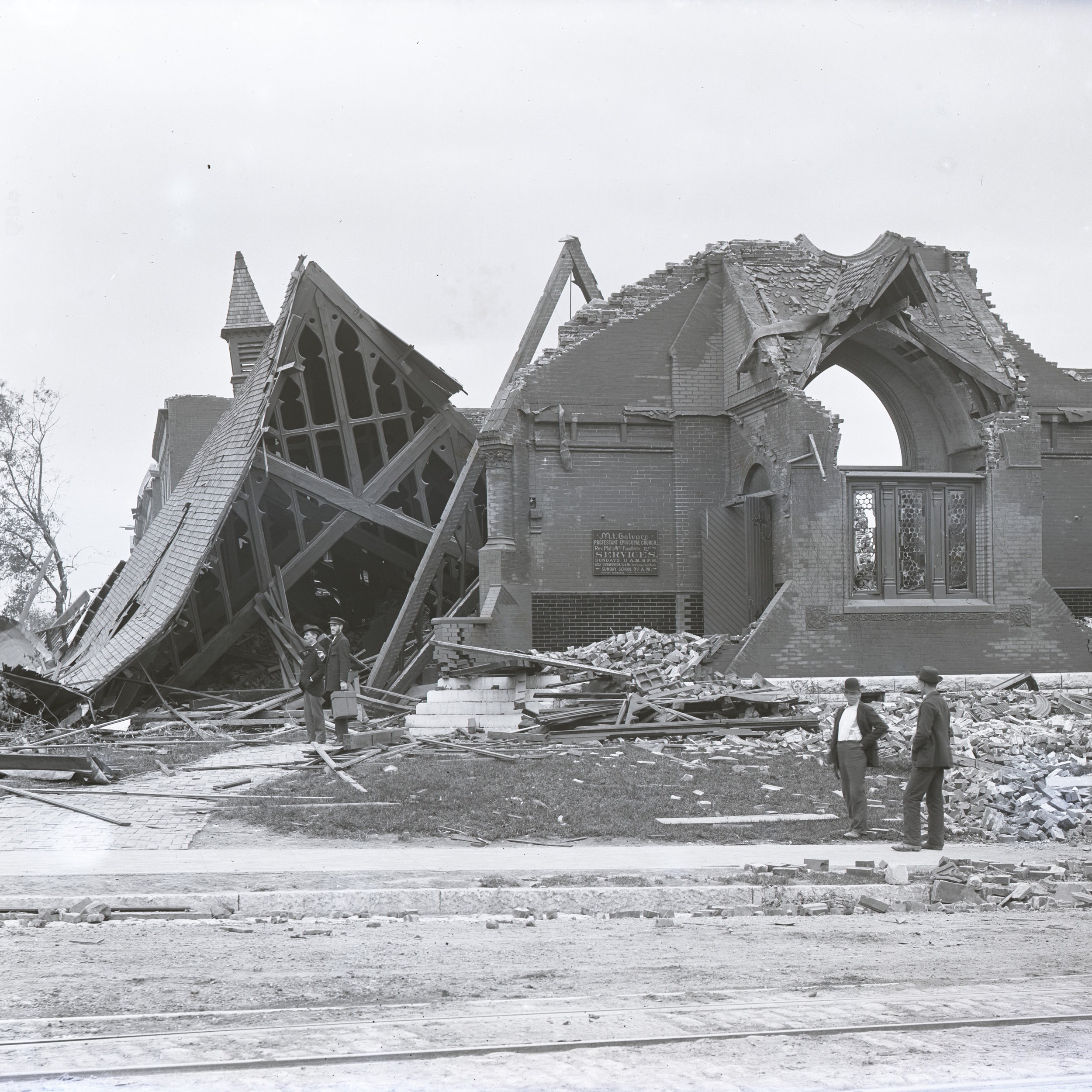 Ruins of Mt. Calvary Episcopal Church, St. Louis, after a tornado devastated much of the city in May 1896. Photograph courtesy of the Missouri Historical Society.