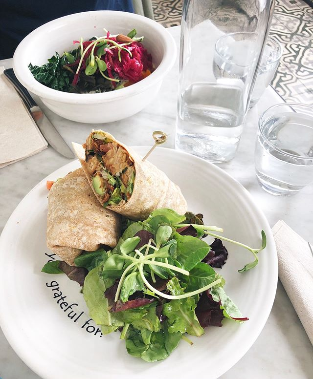 wanted everything on the menu - settled on the tempeh caesar wrap & it did not disappoint 🌿 @cafegratitude #plantbased