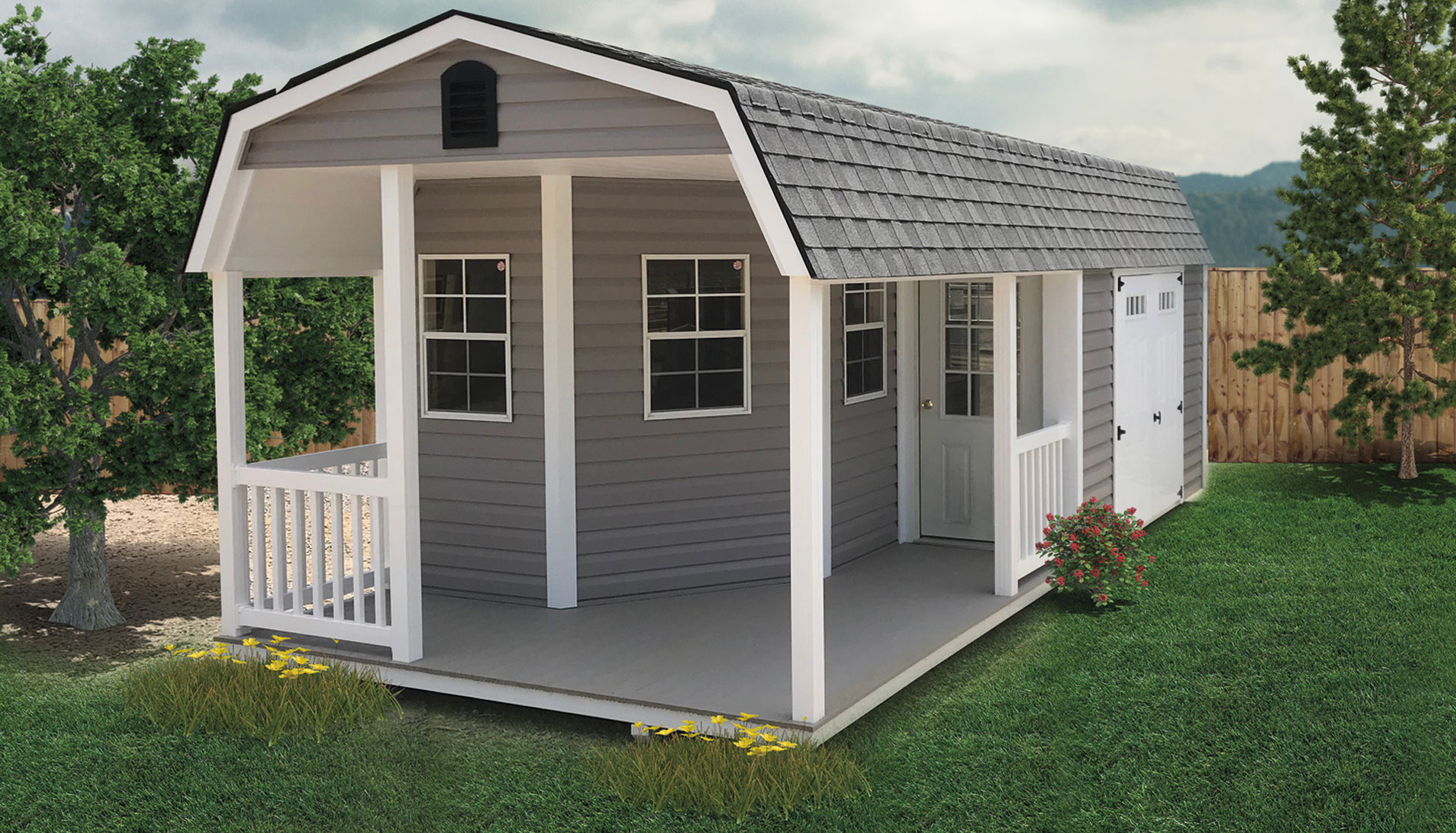 Vinyl Lofted Shed with Deluxe Vinyl Porch. Shown with optional transom glass in the double doors.