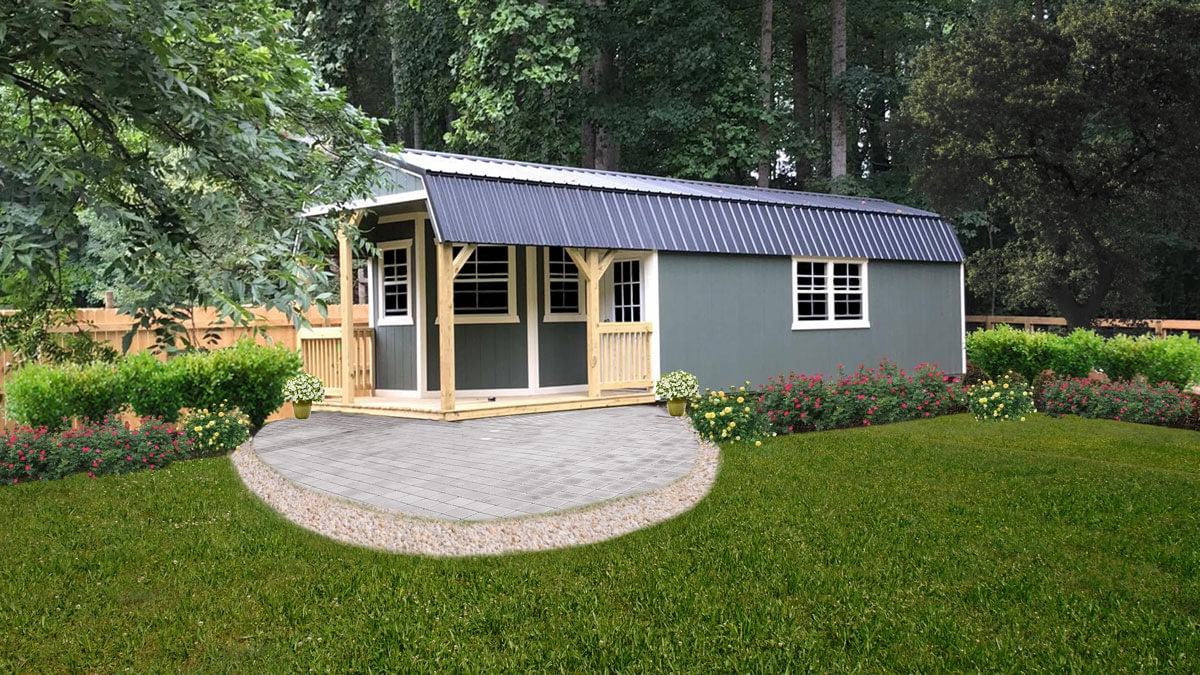 Painted Lofted Shed with Deluxe Treated Porch