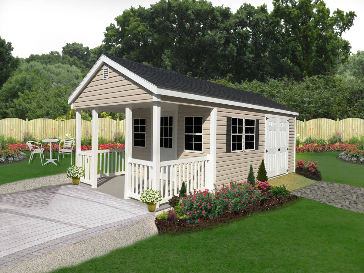 Vinyl Utility Shed with 6-Foot Vinyl Front Porch.