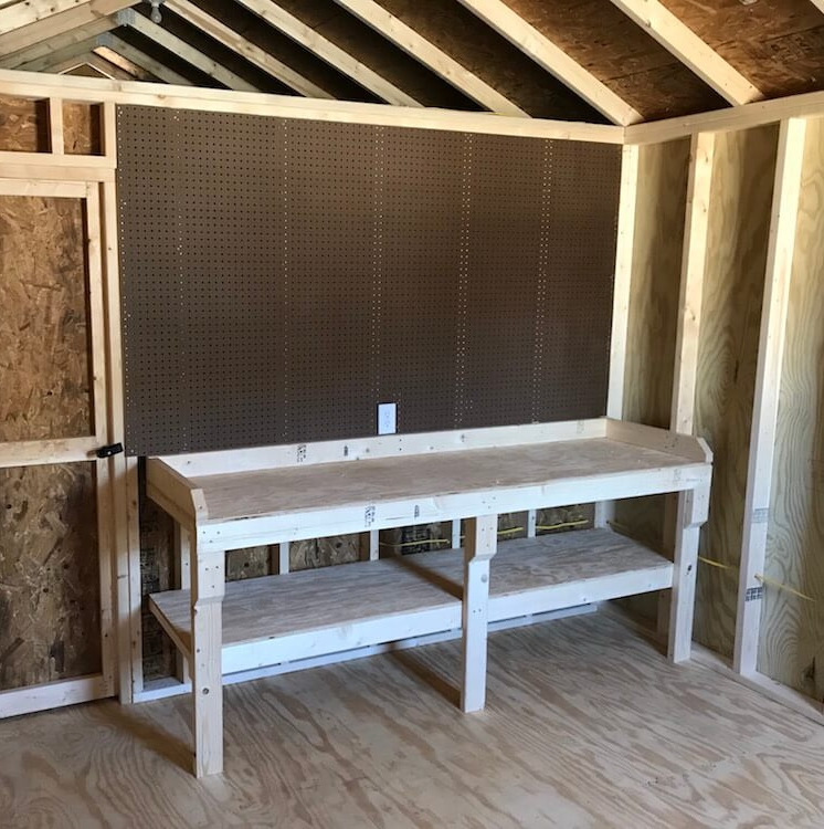 Nothing offers flexibility and organization like pegboard. Pegboard sections are 4-foot tall and are $8 per linear foot.