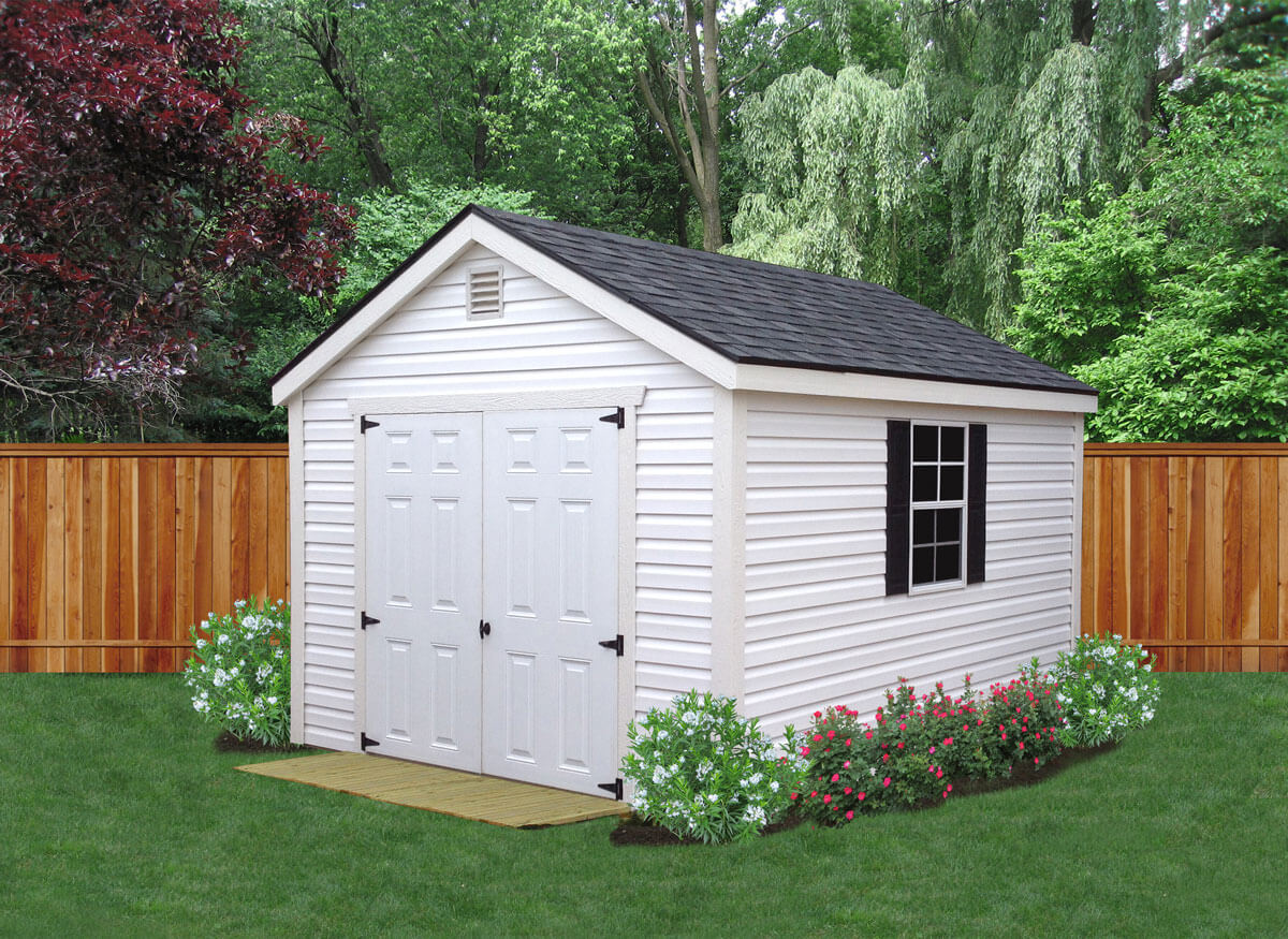 """Vinyl sheds feature CertainTeed® vinyl panels with wood trim. Available in utility and lofted styles, vinyl sheds come standard with two 24x36 windows, and include radiant barrier on the walls and roof. Standard side wall height is 6'4"""". This style is perfect for those with HOA requirements."""