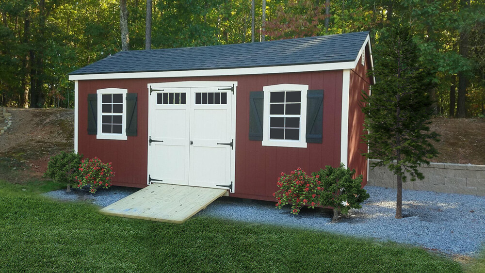 The Southern Classic style adds extra architectural details, such as classic trim around windows and doors, z-shutters, transom glass in doors, and deluxe hinges to the Painted, Vinyl and Lap utility sheds. Side walls are also a foot taller than the standard utility models.