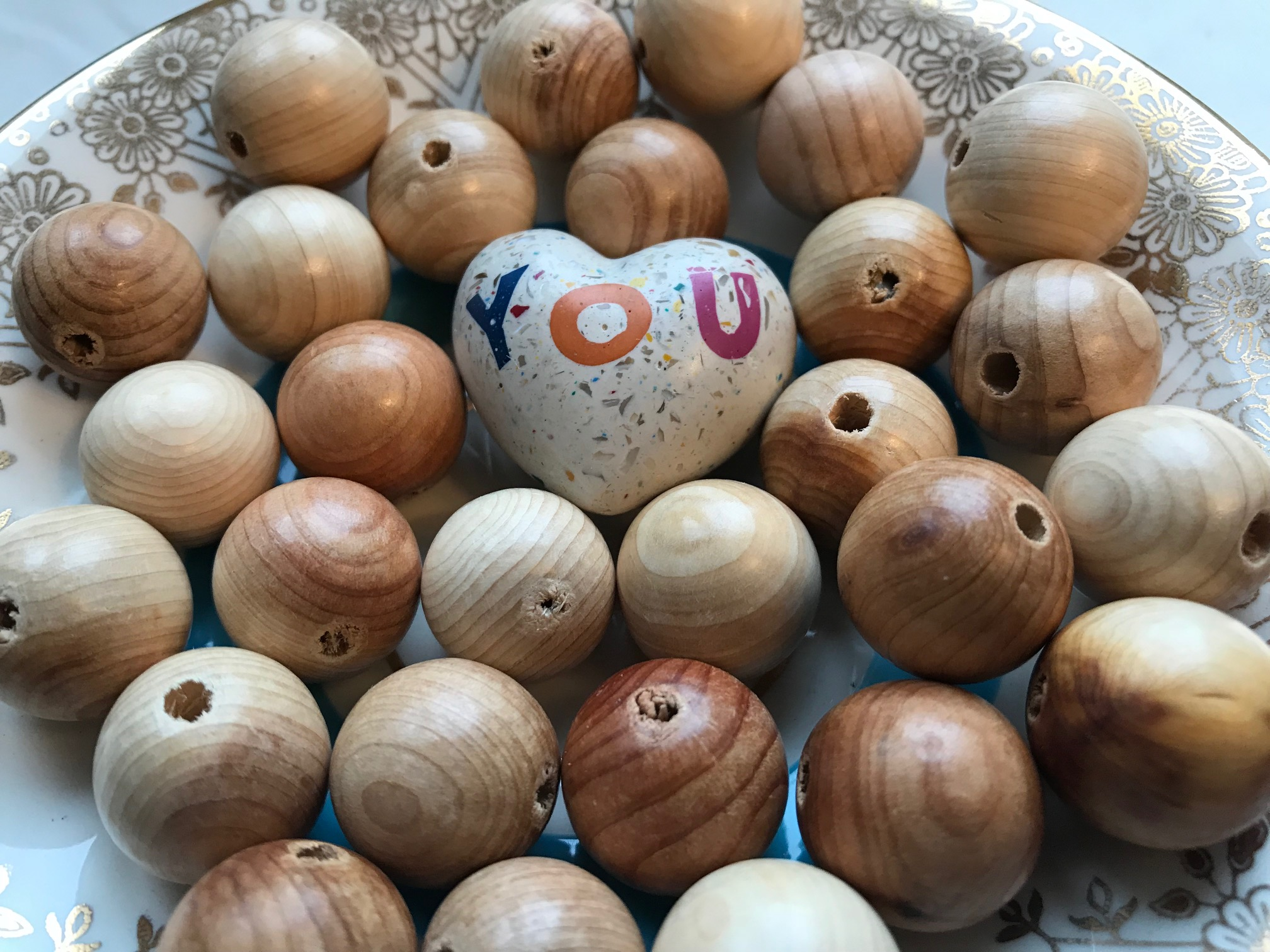 Juniper wood beads