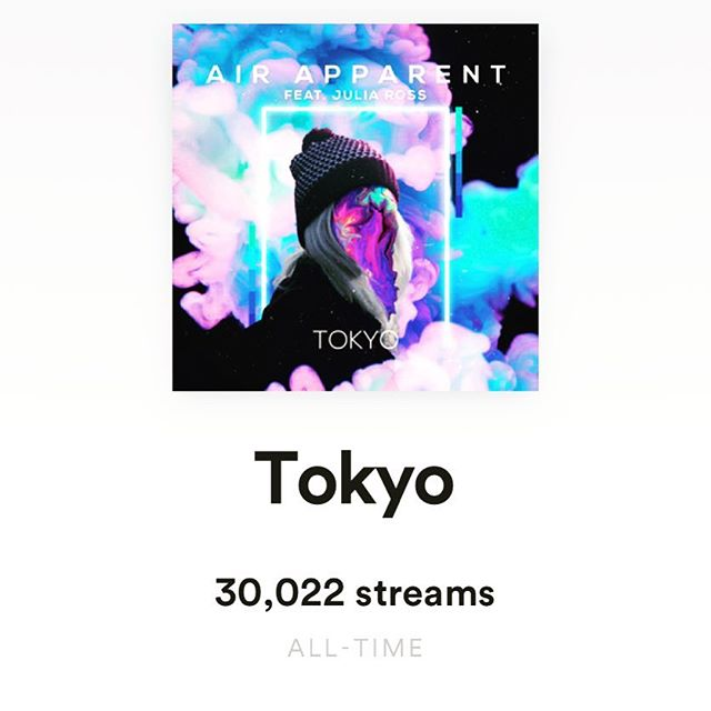 woke up to this. unbelievable. one of my 2019 goals was to hit 20K streams across all my music by the end of the year, and tokyo alone has hit that in just 3 months. thank you, thank you, THANK YOU!