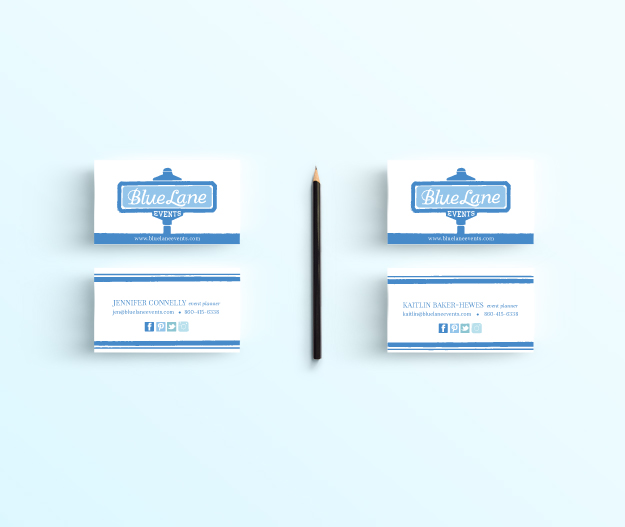 Blue Lane Events Business Cards // Patti Murphy Designs