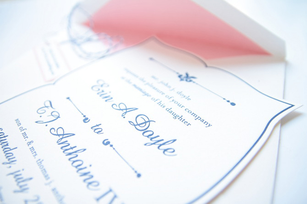 Pink & Navy letterpressed and dicut invites. Colony Hotel in Kennebunkport Maine