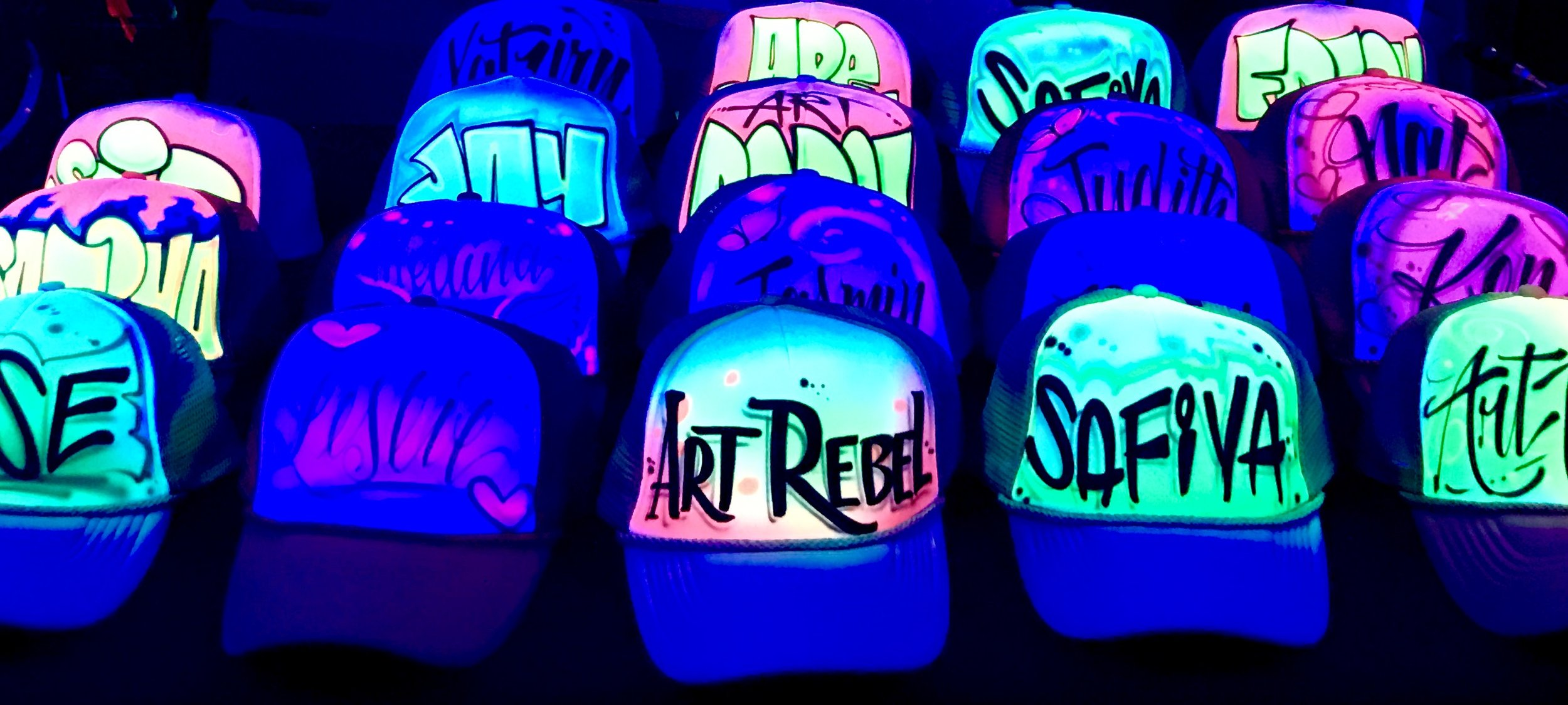 Airbrushed Trucker hats Blacklight glow paint party favors