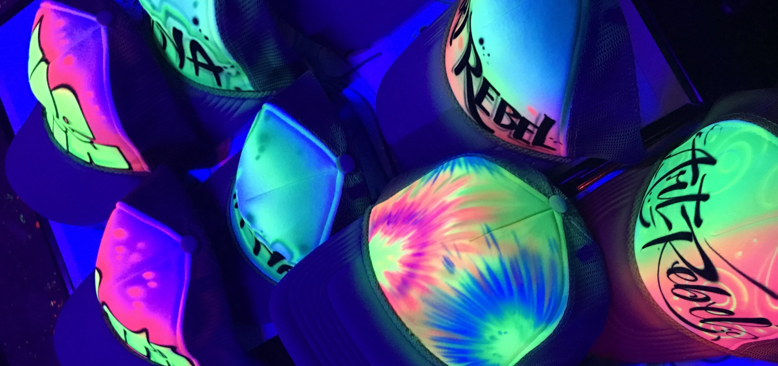Airbrushed Trucker hats Blacklight glow paint custom