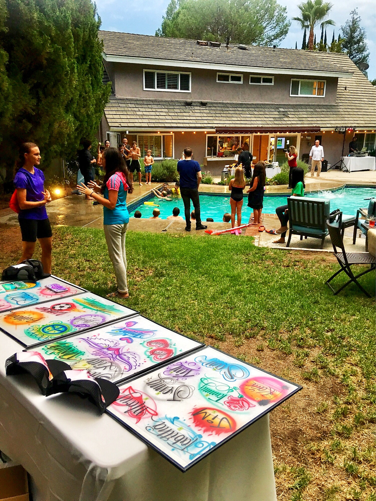 Airbrush at a private pool party