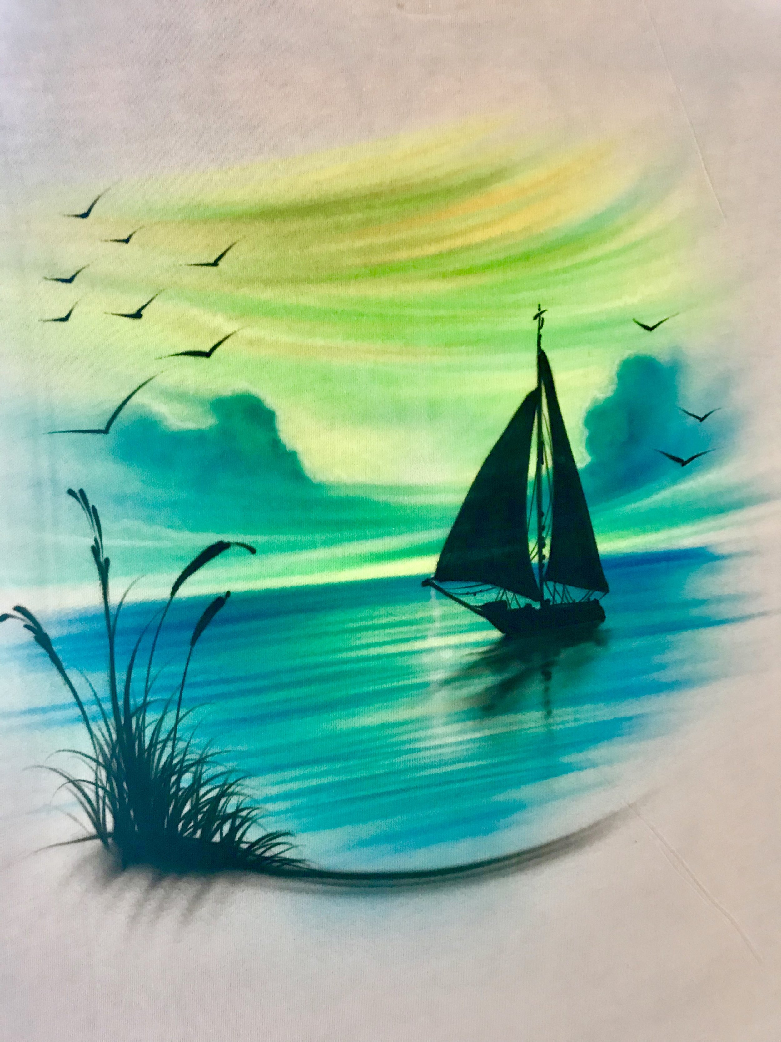 Airbrushed Levi's t-shirt Camarillo sailboat beach scene