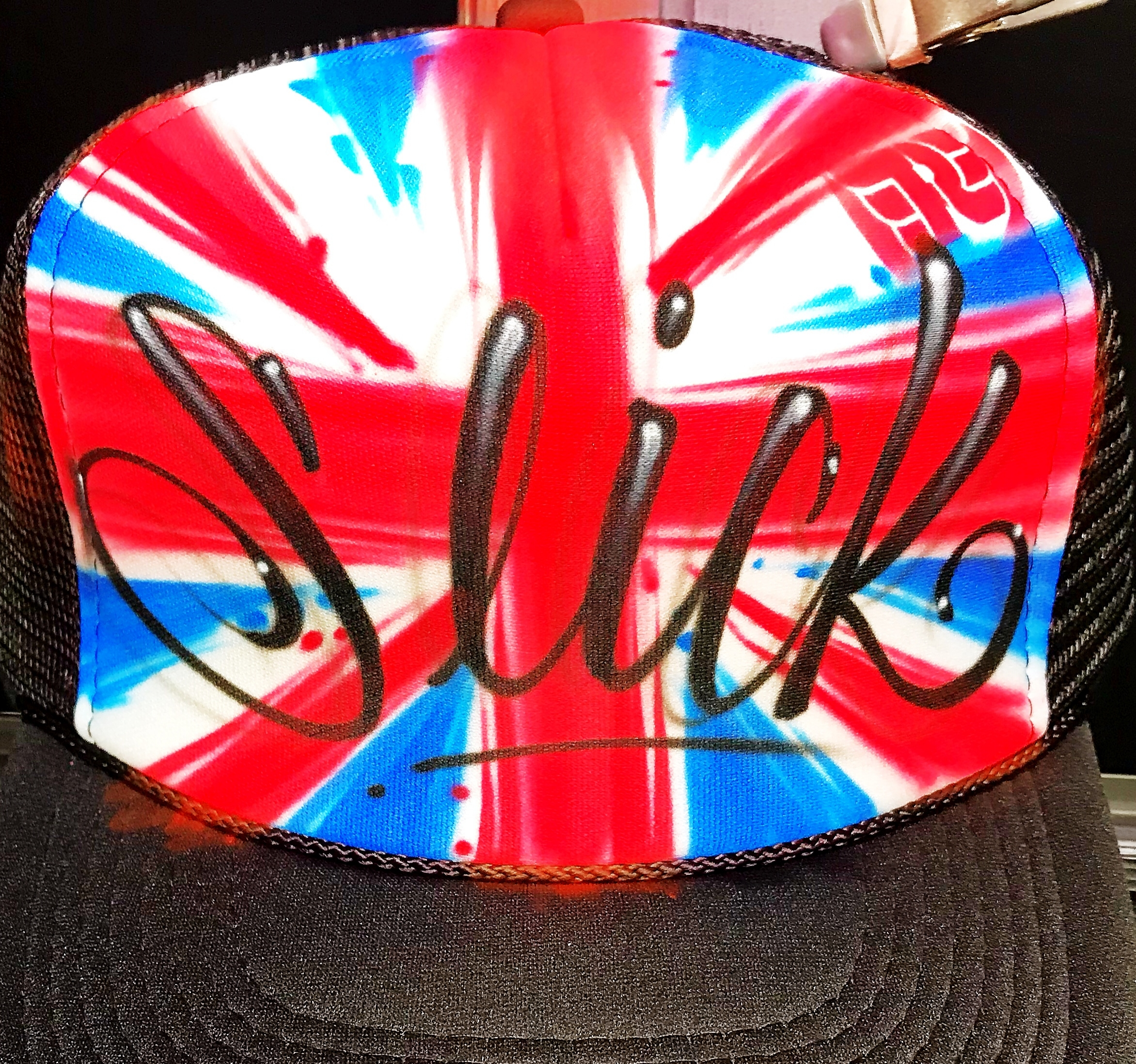 Custom airbrushed trucker hat British flag
