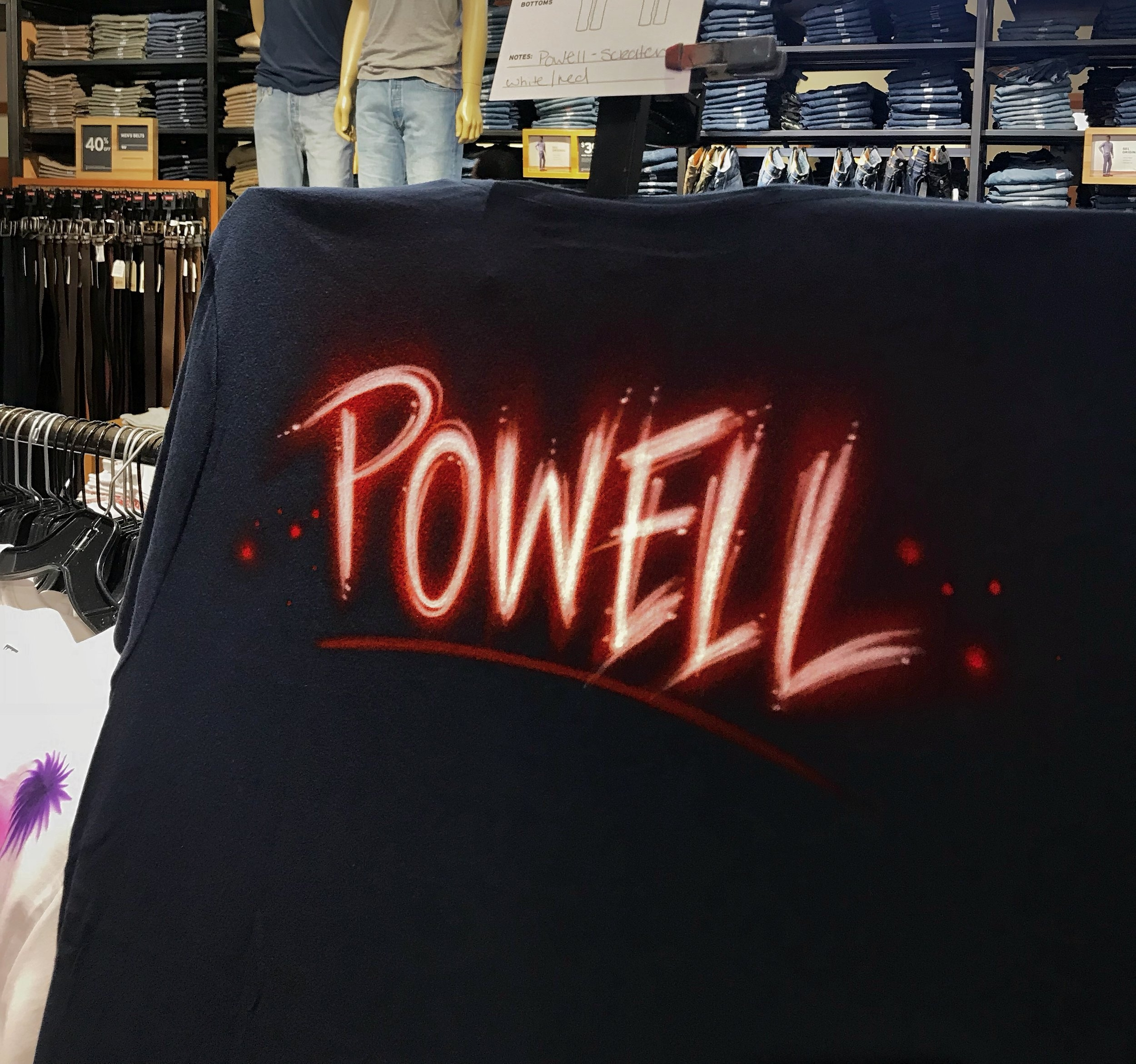 Airbrushed Levi's t-shirt Orlando Florida Scratch lettering