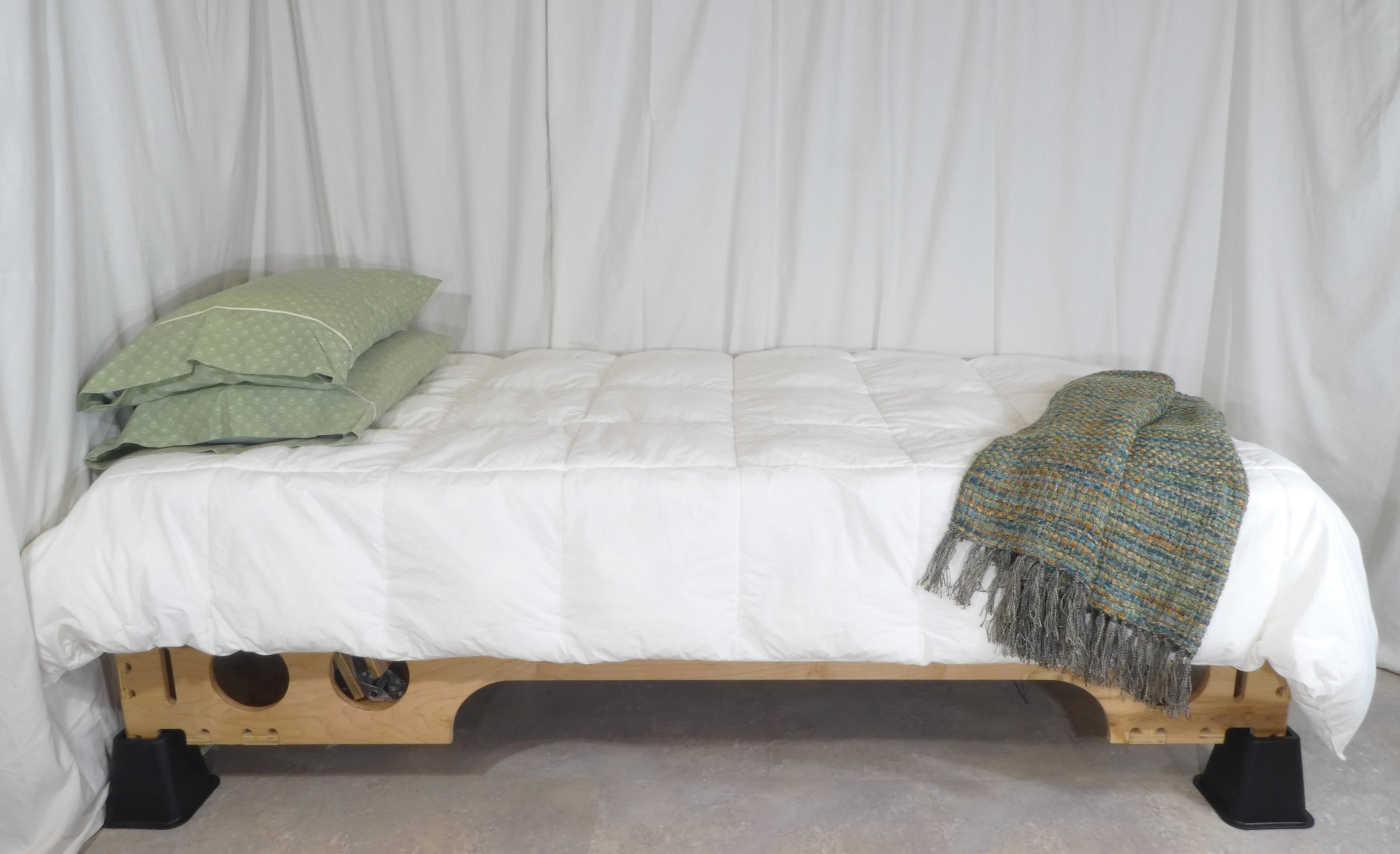 Here, you can see the Twin XL Microtraction Bed as it appears fully made. You can't tell the difference between it and a normal bed.