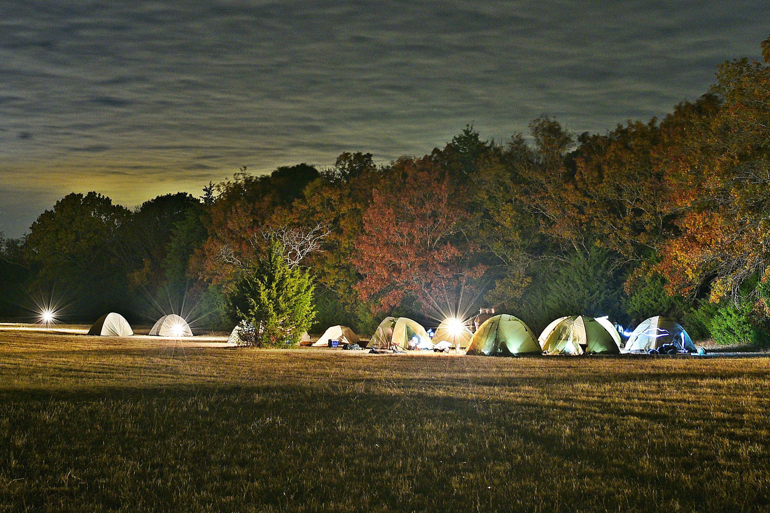 - We camp. Even at night!