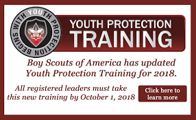 - All registered leaders MUST complete the online Youth Protection Training and renew the training every 2 years. There are no exceptions and we take this seriously. We strongly encourage all parents to take the course so that you know the rules by which all youth and adults abide.