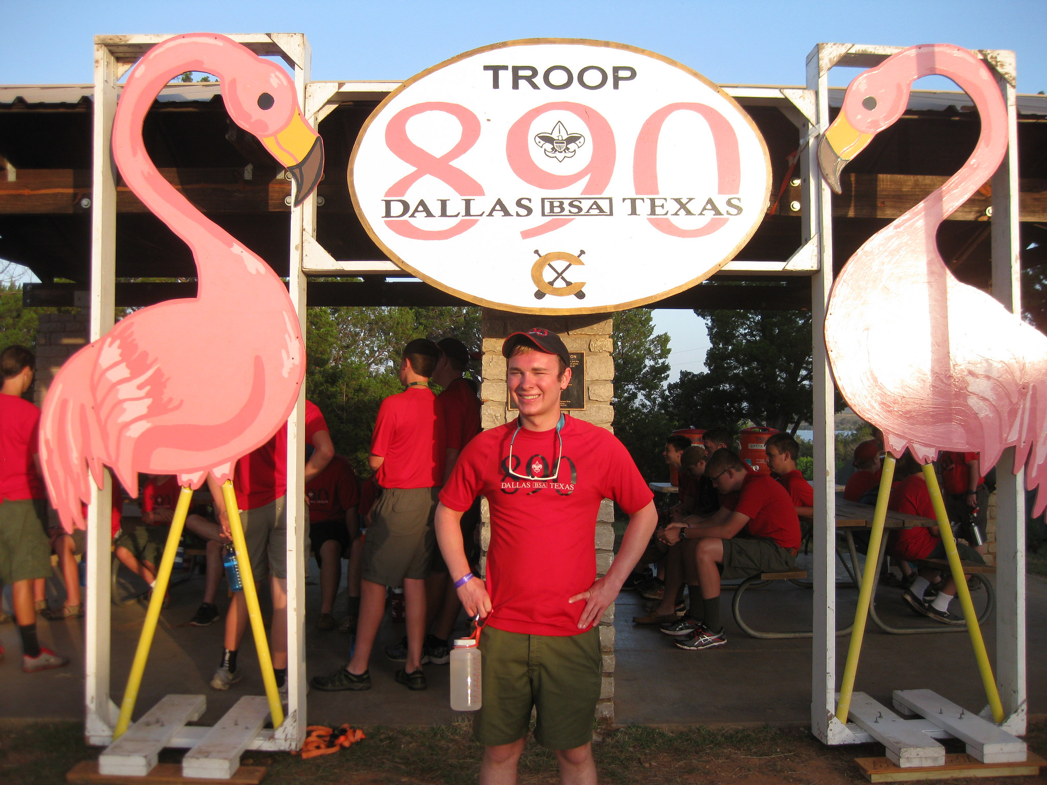 Our flamingo gateway at Indian Mound campsite. The smiling kid is Sam Hotz, SPL, Eagle Scout, and current student at Baylor University.