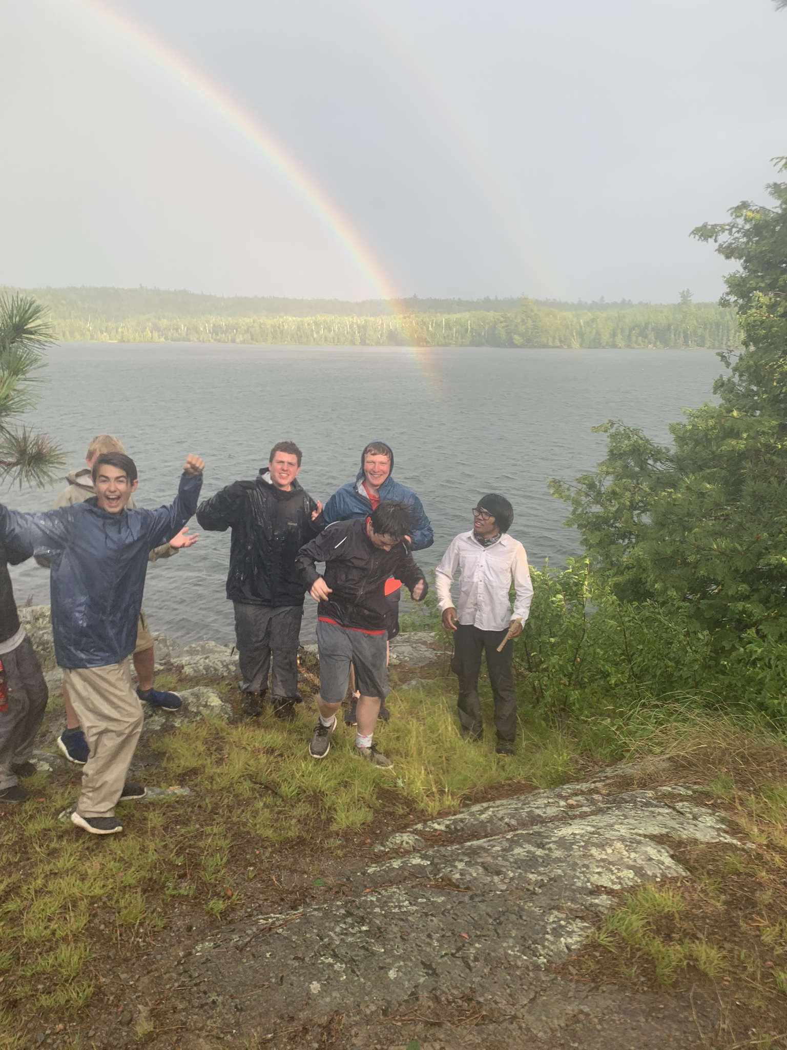 The pot of gold (under the prime rainbow — notice the 2nd one??) was actually on Ashigan Lake (one lake down from Ensign Lake) just off the campsite of Crew N!