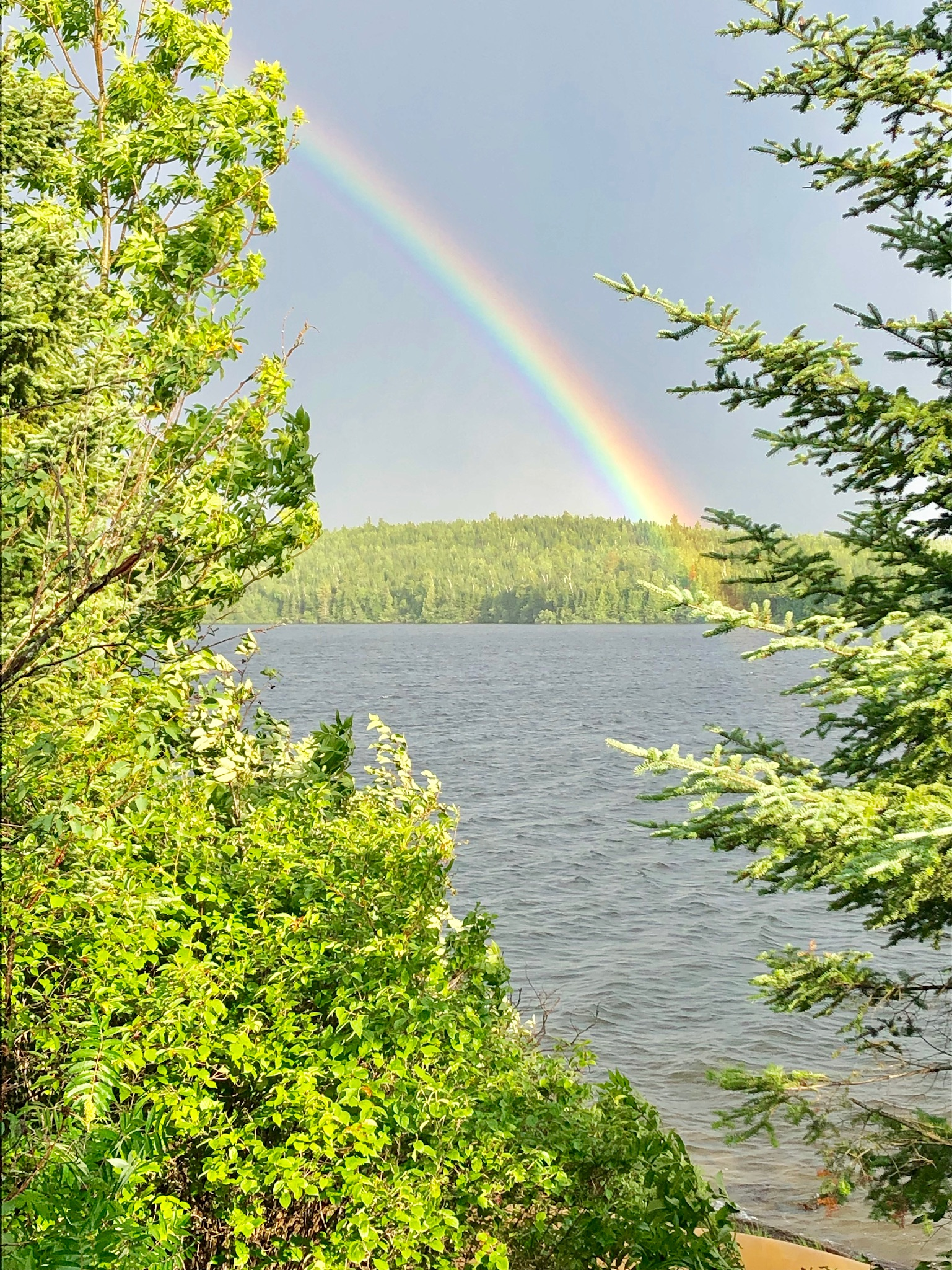 Rainbow on Day 4, Friday, July 26th as seen by Crew M from Ensign Lake looking to the southeast