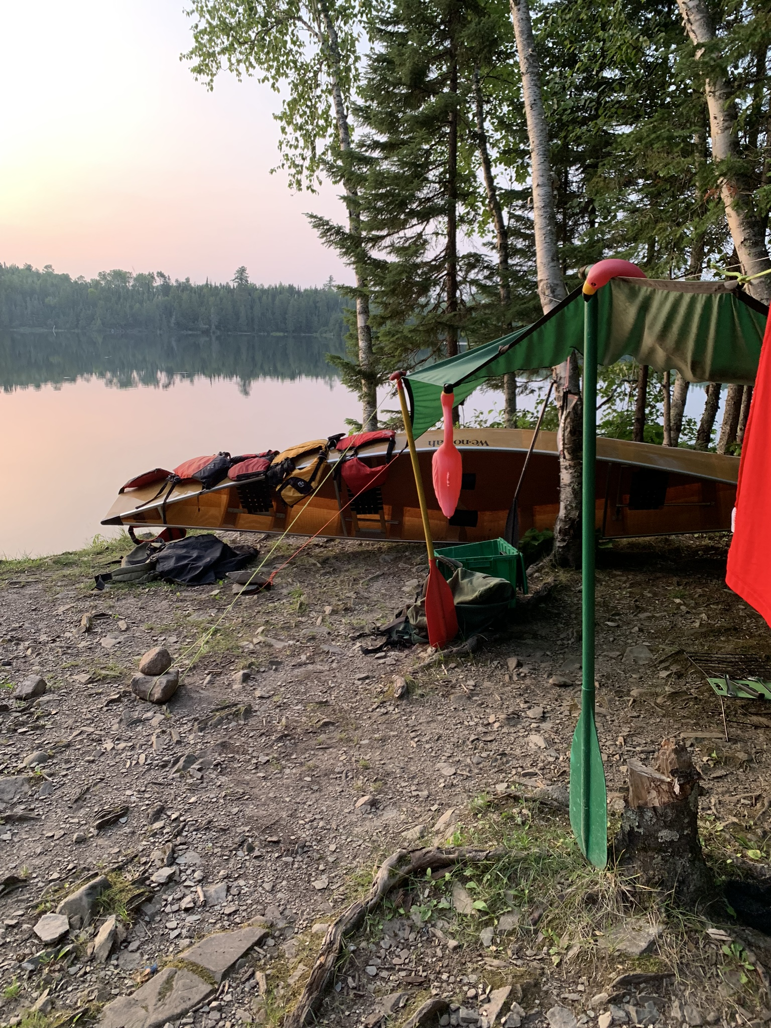 Campsite on Birch Lake with dining fly (and paddles for poles!) and monitoring flamingos